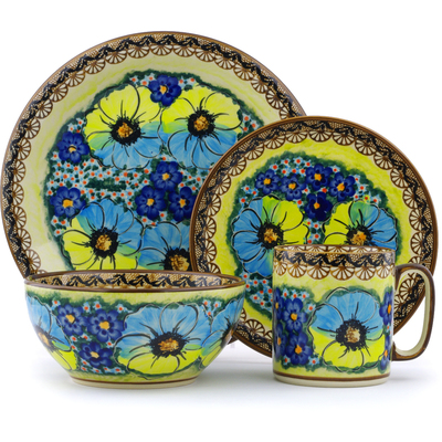 Polish Pottery Place Setting 4-Piece: Mug, Bowl, Dinner Plate, Side Plate Sweet Emotions UNIKAT