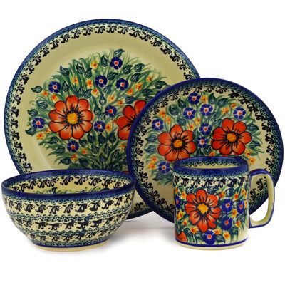 Polish Pottery Place Setting 4-Piece: Mug, Bowl, Dinner Plate, Side Plate Wild Bouquet UNIKAT