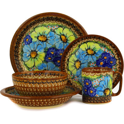 Polish Pottery Place Setting 5-Piece: Mug, Bowl, Pasta Bowl, Dinner Plate, Dessert Plate Sweet Emotions UNIKAT