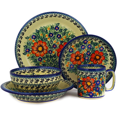 Polish Pottery Place Setting 5-Piece: Mug, Bowl, Pasta Bowl, Dinner Plate, Dessert Plate Wild Bouquet UNIKAT