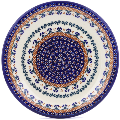 "Polish Pottery Plate 10"" Blue Cress UNIKAT"