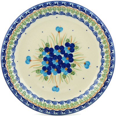 "Polish Pottery Plate 10"" Blue Pansy"