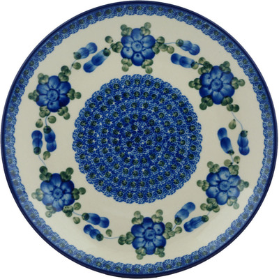 "Polish Pottery Plate 10"" Blue Poppies"