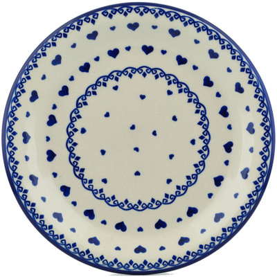 "Polish Pottery Plate 10"" Blue Valentine"