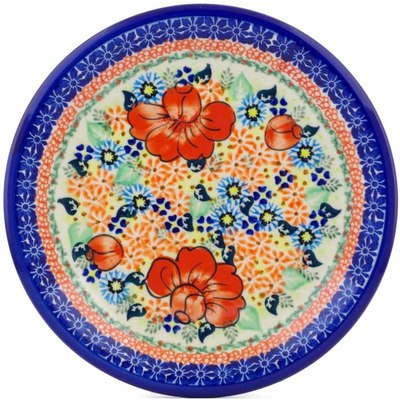 "Polish Pottery Plate 10"" Bold Poppies UNIKAT"