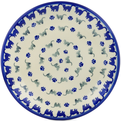 "Polish Pottery Plate 10"" Boo Boo Kitty Paws"