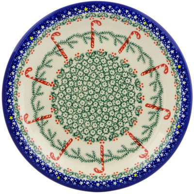 "Polish Pottery Plate 10"" Candy Cane Wreath"