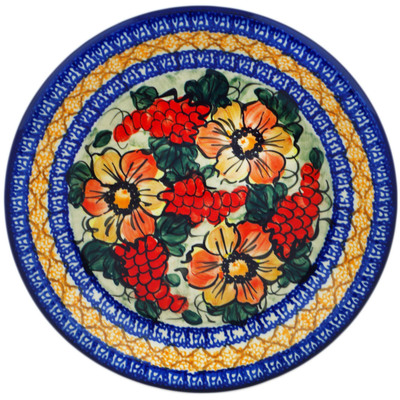 "Polish Pottery Plate 10"" Colorful Bouquet UNIKAT"