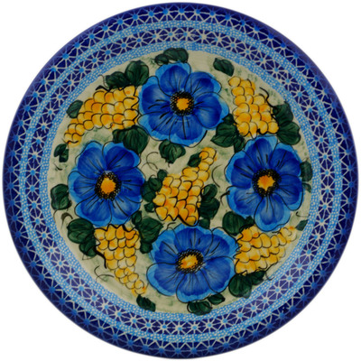 "Polish Pottery Plate 10"" Corn In The Blue UNIKAT"