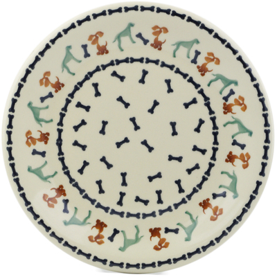 "Polish Pottery Plate 10"" Dogs And Bones"