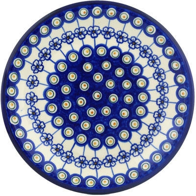 "Polish Pottery Plate 10"" Flowering Peacock"
