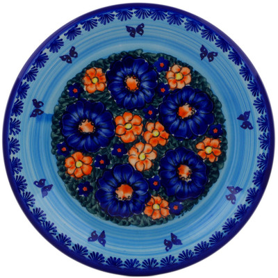 "Polish Pottery Plate 10"" Midnight Garden UNIKAT"