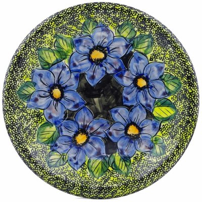 "Polish Pottery Plate 10"" Midnight Glow UNIKAT"