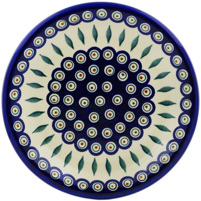 "Polish Pottery Plate 10"" Peacock"