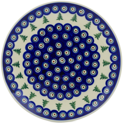 "Polish Pottery Plate 10"" Peacock Pines"