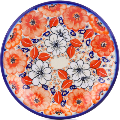 "Polish Pottery Plate 10"" Poppy Passion UNIKAT"