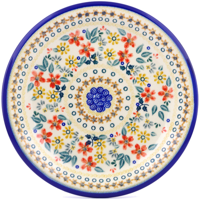 "Polish Pottery Plate 10"" Red Anemone Meadow UNIKAT"