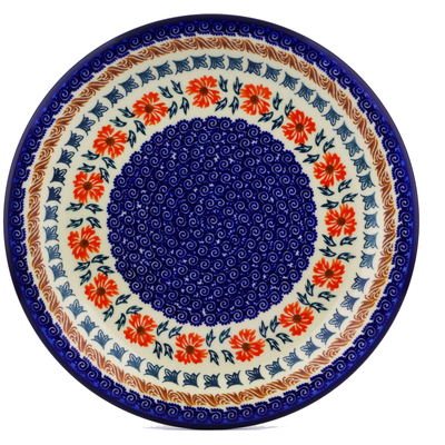 "Polish Pottery Plate 10"" Red Cornflower"