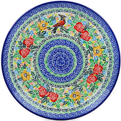 "Polish Pottery Plate 10"" Red Robin Roses UNIKAT"