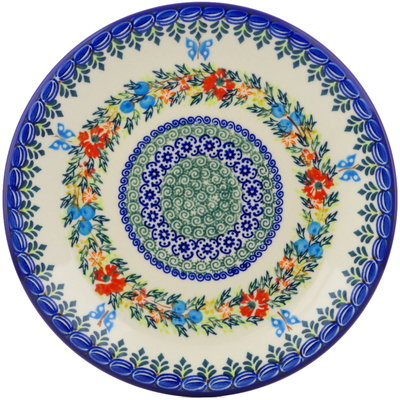 "Polish Pottery Plate 10"" Ring Of Flowers UNIKAT"
