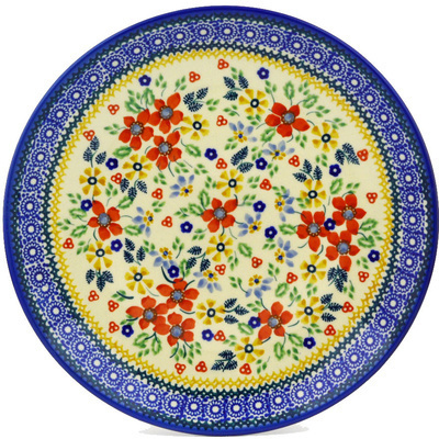 "Polish Pottery Plate 10"" Ruby Bouquet UNIKAT"