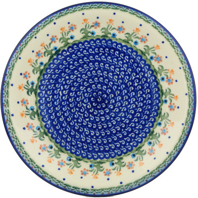 "Polish Pottery Plate 10"" Spring Flowers"