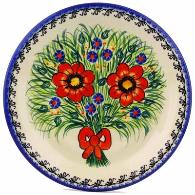 "Polish Pottery Plate 10"" Wild Bouquet UNIKAT"