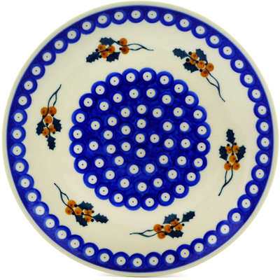 "Polish Pottery Plate 10"" Yellow Holly Berries"
