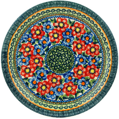 "Polish Pottery Plate 11"" Blue And Red Poppies UNIKAT"