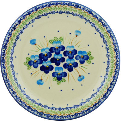 "Polish Pottery Plate 11"" Blue Pansy"