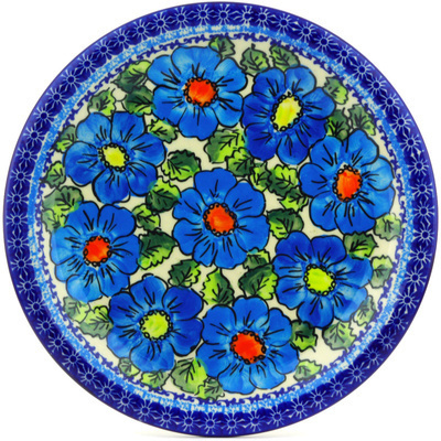 "Polish Pottery Plate 11"" Bold Blue Poppies UNIKAT"
