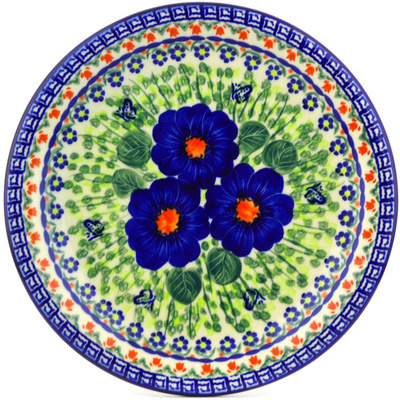 "Polish Pottery Plate 11"" Brilliant Butterfly Popp UNIKAT"