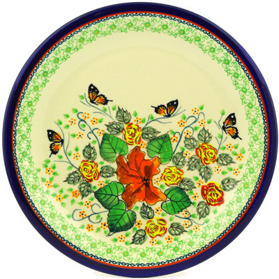 "Polish Pottery Plate 11"" Butterfly Meadow UNIKAT"