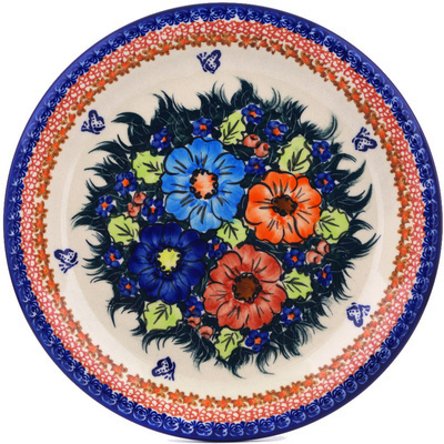 "Polish Pottery Plate 11"" Butterfly Splendor UNIKAT"