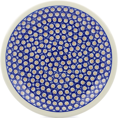 "Polish Pottery Plate 11"" Daisy Stamps"
