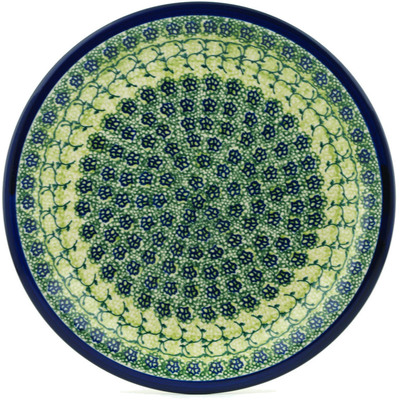"Polish Pottery Plate 11"" Emerald Forest"