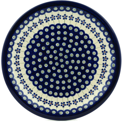 "Polish Pottery Plate 11"" Flowering Peacock"