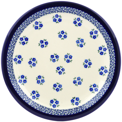"Polish Pottery Plate 11"" Forget Me Not Dots"