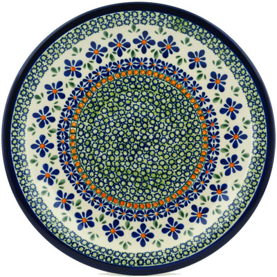 "Polish Pottery Plate 11"" Gingham Flowers"