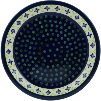 "Polish Pottery Plate 11"" Green Gingham Peacock"