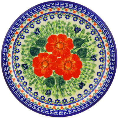 "Polish Pottery Plate 11"" Happiness UNIKAT"