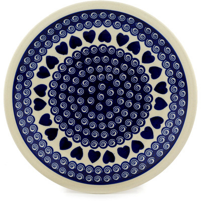 "Polish Pottery Plate 11"" Heart Swirls"