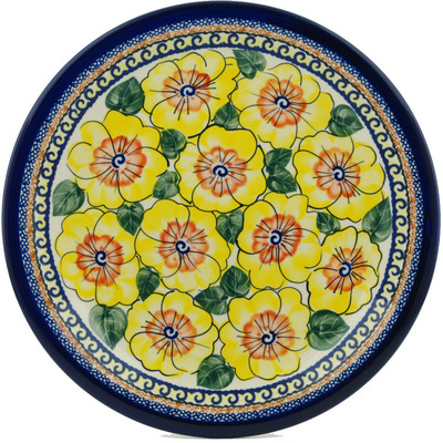 "Polish Pottery Plate 11"" Lemon Poppies UNIKAT"
