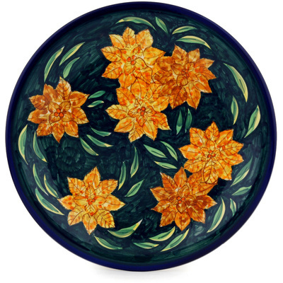 "Polish Pottery Plate 11"" Midnight Splendor UNIKAT"