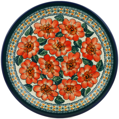 "Polish Pottery Plate 11"" Peach Poppies UNIKAT"