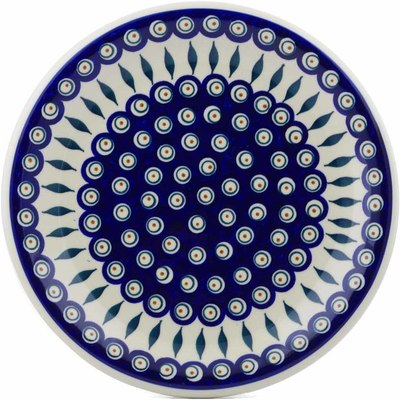 "Polish Pottery Plate 11"" Peacock"