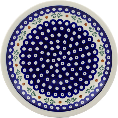 "Polish Pottery Plate 11"" Peacock Hollies"