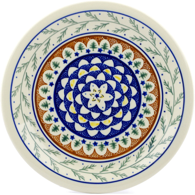 "Polish Pottery Plate 11"" Pine Boughs"