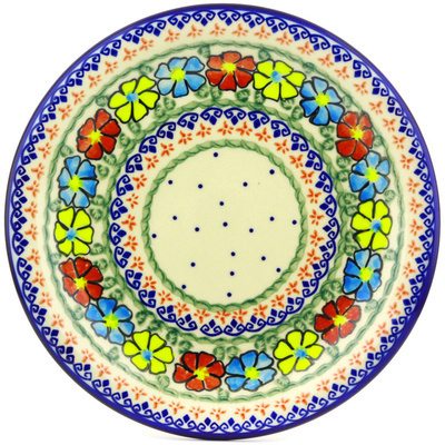 "Polish Pottery Plate 11"" Primary Poppies UNIKAT"