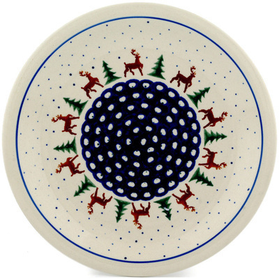 "Polish Pottery Plate 11"" Reindeer Pines"
